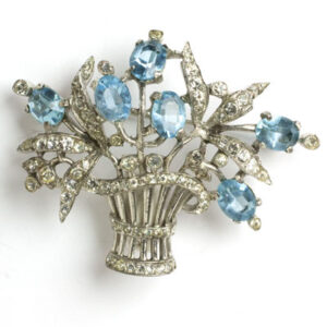 Flower basket brooch with aquamarine & diamante