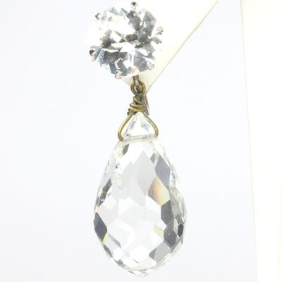 Close-up view of crystal briolette pendant