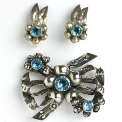 Aquamarine and silver earrings w/matching brooch
