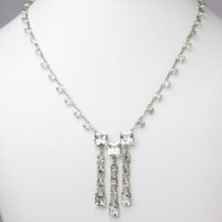 3 drop necklace with crystal chicklets