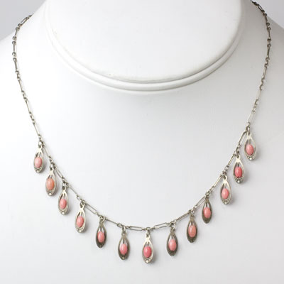 Vintage coral bead necklace with fringe