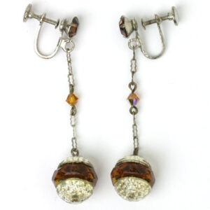Silver-tone & golden topaz 1920s screw-back earrings