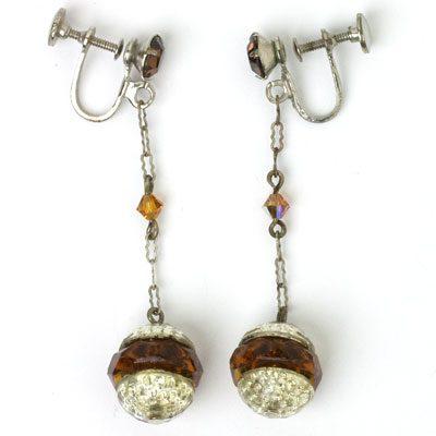 Silver-tone & golden topaz 1920s screw-back earrings