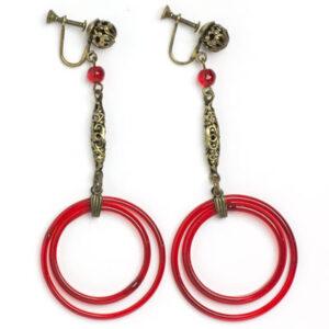 Red glass & brass filigree 1920s Czech earrings