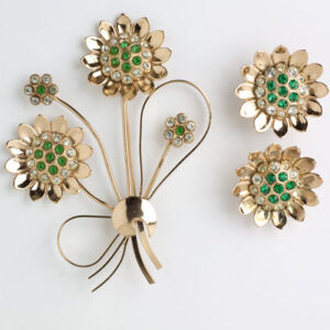 Coro screw back earrings & brooch set in flower motif