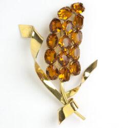 Flower brooch pin w/golden topaz & vermeil sterling