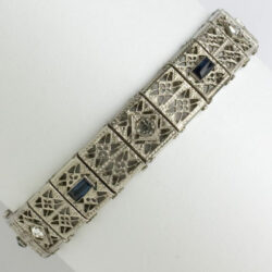 Sterling silver filigree bracelet with sapphire & diamanté