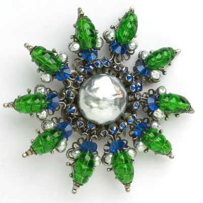Miriam Haskell pin with grey pearls, emeralds & sapphires