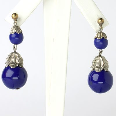 Lapis drop earrings from Czechoslovakia