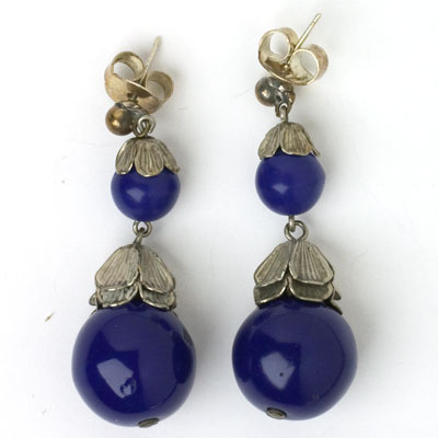 1930s lapis bead earrings