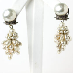 1950s French pearl cluster earrings