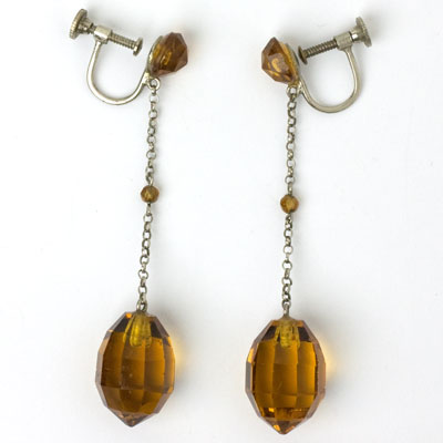 Full view of citrine briolette screw-back earrings