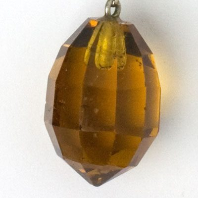 Close-up view of faceted briolette
