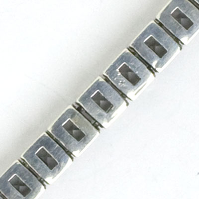 Close-up view of bracelet back, showing construction