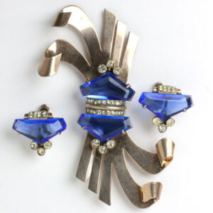 Reinad brooch & earrings with sapphires & diamante