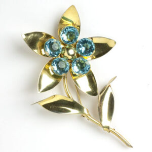Aquamarine flower pin in gold-washed sterling