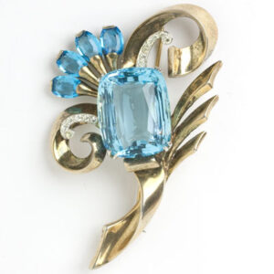 Aquamarine brooch in vermeil sterling