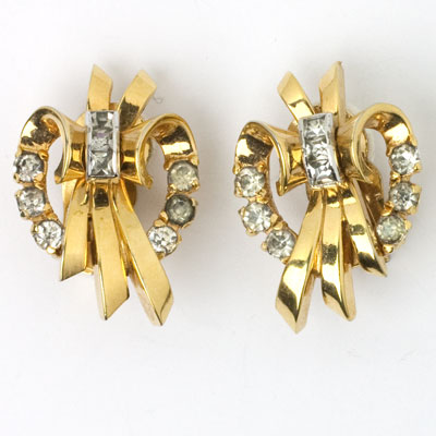 Diamanté & gold ribbon 1940s earrings by Mazer