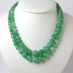 Green glass bead necklace by Louis Rousselet