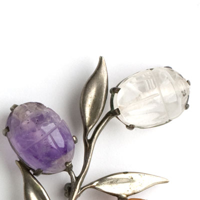 Amethyst and rock crystal scarab flowers