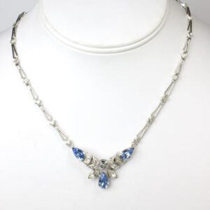 1950s necklace by Engel Brothers with sapphire & diamanté set in sterling