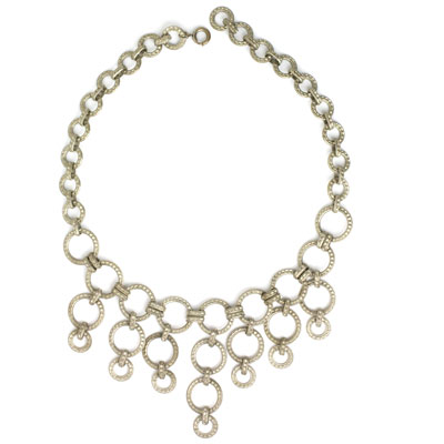 Front of silver ring bib necklace