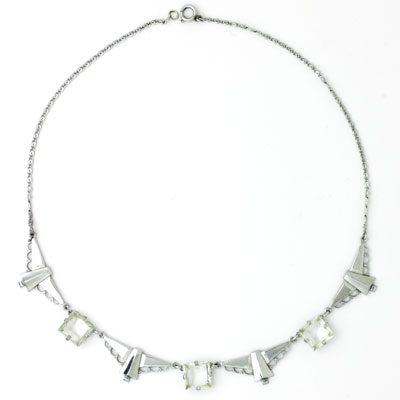 German Art Deco chrome & crystal necklace