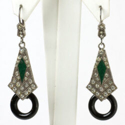 Diamante dangle earrings w/emerald enamel & onyx hoops