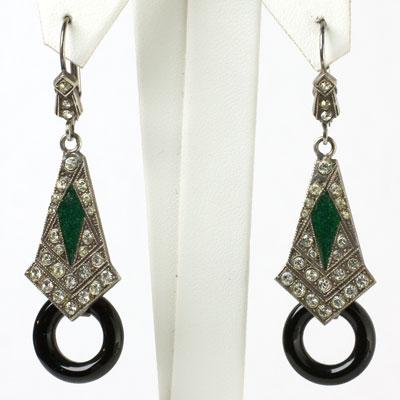 Diamante dangle earrings w/emerald enamel & onyx hoops
