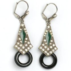Emerald, onyx & diamante earrings