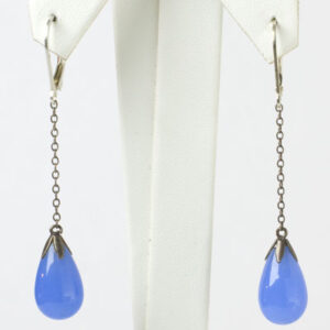 1920s blue chalcedony teardrop earrings