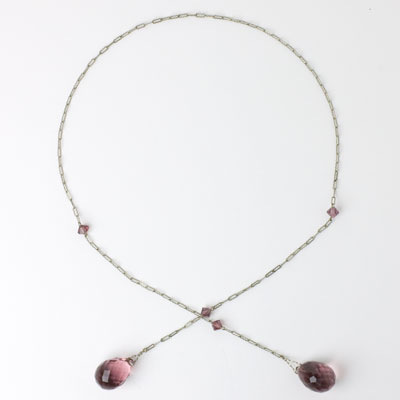 Complete view of amethyst lariat necklace
