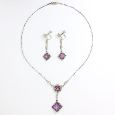 Art Deco pendant necklace & earrings w/amethysts