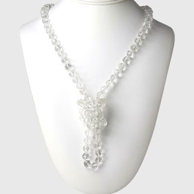 1920s crystal bead necklace worn knotted