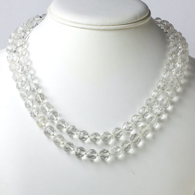 1920s crystal bead necklace worn doubled