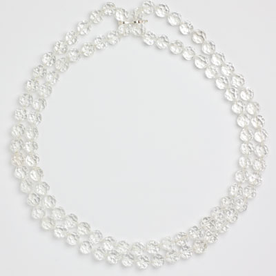 Crystal bead necklace doubled