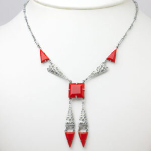Art Deco filigree necklace w/dangles & lipstick red accents