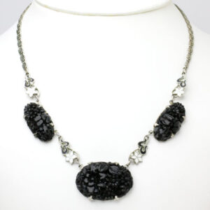 Vintage black onyx necklace with enamel accents