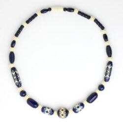 Blue & cream 'carved' Galalith necklace