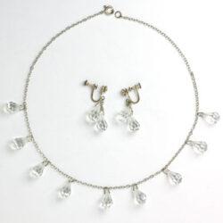 Crystal briolette necklace & earrings
