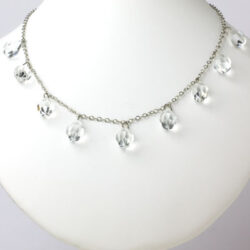 1920s necklace with 9 crystal briolettes