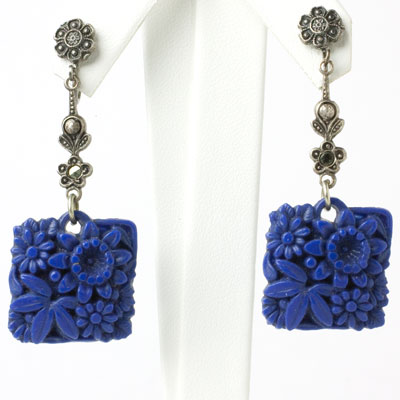 Lapis blue earrings with large 'carved' pendants