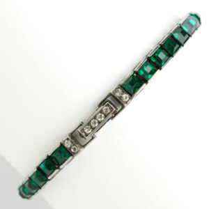 Vintage line bracelet in emerald & diamanté, set in sterling silver