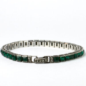 Emerald, diamanté & sterling bracelet by Otis