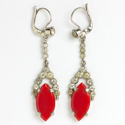 Lipstick-red & diamante 1920s earrings
