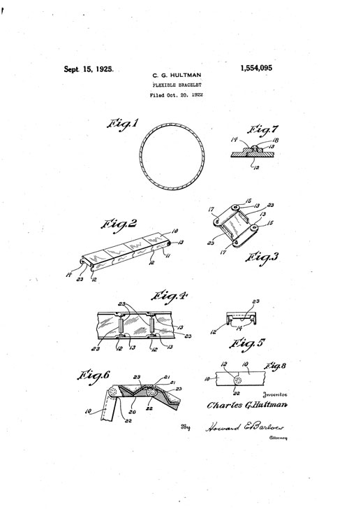 Charles G. Hultman patent for a flexible bracelet