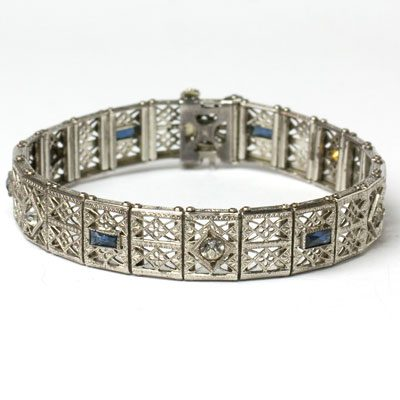 Granbery Art Deco sterling filigree bracelet