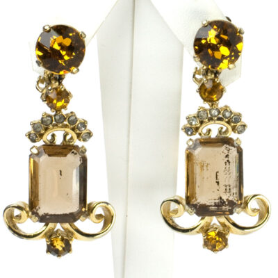 Brown and gold topaz earrings by Elsa Schiaparelli