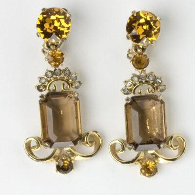 1950s ornate pendant earrings by Elsa Schiaparelli