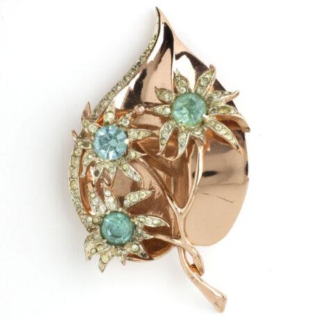 Coro leaf pin with aquamarine & diamante flowers